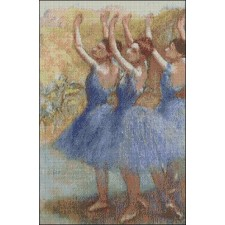 Three Dancers in Violet Tutues by Edgar Degas