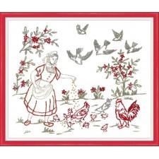 Meisje en haar kippen - Fanchon et ses poules