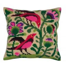 Cushion cross stitch kit Birds of Paradise - Collection d'Art