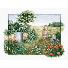 Borduurpakket Landschap met klaprozen - Landscape with poppies