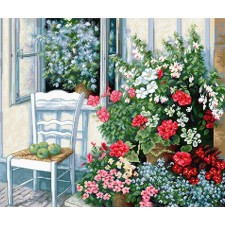 Borduurpakket Terras met Bloemen - Terrace with Flowers